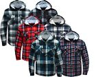 Hooded Fleece Padded Lumberjack Shirt Jacket Fur Lined Sherpa Winter Warm Work