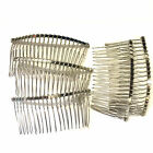Metal Hair Combs 7.8x3.8cm Silver Effect Beadable Bridal Prom Wedding HairJ17122
