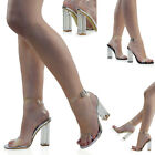 Womens Clear Heel And Strappy Peep Toe Sandals Ladies Party Perspex Shoes 3-8