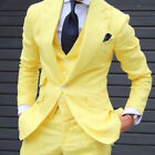 Men 3 Pieces Yellow Slim Fit Wedding Suit Groom Tuxedos Bridegroom Suit Custom