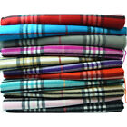 Men Women Unisex 100% CASHMERE Scarf Classic Tartan Stripe Wool Wrap SCOTLAND