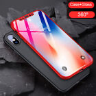 360° Shcokproof Case Thin Slim Hard Cover + Temper Glass Protecter  For iPhone X