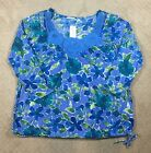 NWT Women's Silhouettes Blue Floral Crochet Long Sleeve Knit Top