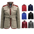 CLEARANCE NEW LADIES QUILTED BELTED CONTRAST WOMENS PADDED  ZIP JACKET COAT TOP