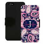 MONOGRAMMED WALLET CASE FOR iPHONE X 8 7 6 5 PLUS NAVY PINK PAISLEY