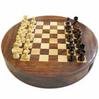 """Personalised 9"""" Round Wooden Chess Set with internal Storage, Engraved Gift"""