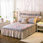 Floral Skirt Pleated Valance Pillow Cases  King/Queen Size Bed Bedding Set New