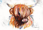 Print or Greeting Card Watercolour Highland Cow by Artist Be Coventry Art