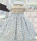 Pretty Original Smocked Dress & Headband Style BD 01483 2-5 Years blue /brown