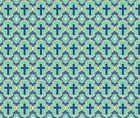Cross Christian Cross  Blue and Green Fabric Printed by Spoonflower BTY