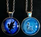 Fairies Glass Cabochon Pendant Necklaces Silver Fairy Faerie