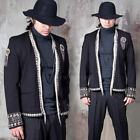 NewStylish Mens Fashion Metal Fringe & Beads Accent Short Slim Blazer