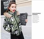 Women's cartoon graffiti printing fur collar short winter jacket KREDT62038#