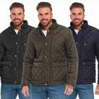 New Mens Diamond Quilted Jacket Padded Winter Coat Parka Full Zip Cord Trim Warm