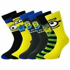 6 Pairs Pack Mens Boys Minions Socks Cotton Rich Despicable Me Novelty Character