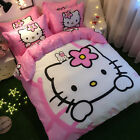 ** White Hello Kitty & Bunny Queen Bed Quilt Cover Set - Flat or Fitted Sheet **
