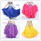 Belly Dance Costume Three Layers Performances Skirt Dress 12 Colors Without Belt