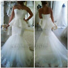 2018 Wedding Dreses Bridal Ball Gown Mermaid Strapless New Custom Made Size 2-28