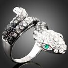 Snake B/W Animal Made With Swarovski Crystal Stone White Gold Plated Women Ring