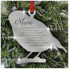 ROBIN Remembrance Christmas Tree Decoration Mirror Acrylic Personalised Baubles