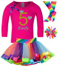 5th Birthday Girl Shirt Pink Gold Glitter Rainbow Tutu Set Socks Hair Bow Name 5