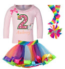 Bubblegum Divas Unicorn 2nd Birthday Girl Shirt Horse Pink Pony Tutu Outfit Two