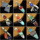 Indian Silver Plated Natural Mix Gemstone Handmade Pendant  gift Indian Jewelry