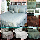 Jacquard Bedspread attached Valance +Std Pcase(s)+2 Cushions SINGLE DOUBLE QUEEN