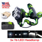 Tactical 60000lumens 4modes Headlamp 5xT6 LED White Light 18650 Charger P
