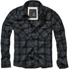 Brandit Flannel FIN Check Shirt Mens Casual Cotton Long Sleeve Anthracite Black