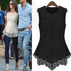 HK- Women's Sleeveless Embroidery Blouse Casual O-neck Lace Crochet Top Natural