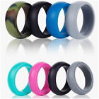 4 Pack Rubber Silicone Wedding Rings Bands For Men & Women In Gift Box 4-12 Size