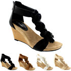 Womens Floral Low Wedge Heel Open Toe Summer Ankle Strap Holiday Sandals UK 3-9