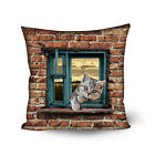 Brown Square Decorative Throw Pillow Case Window Animal Print Cushion Cover Case