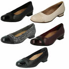 LADIES CLARKS UNSTRUCTURED LEATHER WIDE FIT BALLERINA CASUAL SHOES KEESHA ROSA