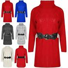 Ladies Jumper Chunky Cable Knitted Womens Corset Belt Cowl Neck Baggy Mini Dress
