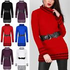 Ladies Jumper Cable Knitted Womens Contrast Stripes Cowl Neck Baggy Mini Dress