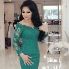 New Green Lace Long Sleeve Bridal Dress Muslim Bride Wedding Gowns Size 2-16