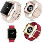 Genuine Leather Magnetic Wrist Band Modern Buckle Watch Strap for Apple Watch