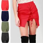Womens Ladies Casual Eyelet Lace Up Tie Knot Bodycon Side Slit Split Mini Skirt