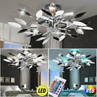LED ceiling lamp RGB remote control living room chrome leaves lamp dimmable new