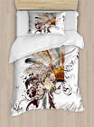 Feather Twin Size Duvet Cover Set Floral Arrangement with...