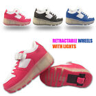 KIDS SHOES LED Light Roller Skate Sneaker Retractable Wheels Girls Boys Trainers