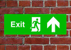 Fire Exit Up HSE sign Health & Safety EMER15 45cmx15cm PVC Dilite Vinyl