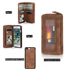 Zipper Leather Wallet Card Handbag Case Brown Back Cover For iPhone 6 7 8 Plus
