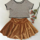 children clothes stores - US Store Kids Baby Girls Stripes Velvet Top T-shirt Skirt Outfits Clothes Summer