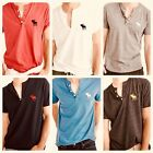 NWT Abercrombie & Fitch Mens Short Sleeve Henley Icon T-Shirt Color Size Varies
