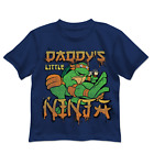 Nickelodeon TMNT Boys Blue Short Sleeve Daddy's Little Ninja Turtles Shirt New
