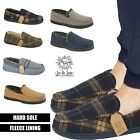 Mens Slippers Loafers Faux Suede Slip On Fur Fleece Lined Winter Warm Shoes