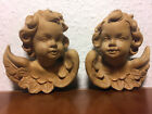 Pair of vintage wooden hand carved angel putti putto heads statue figurine